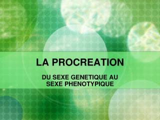 LA PROCREATION