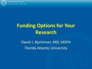 Funding Options for Your Research