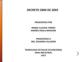 DECRETO 2800 DE 2003