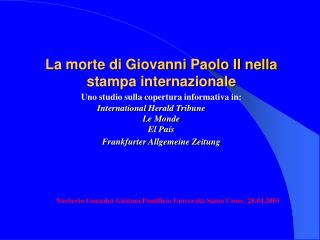 Norberto Gonz ález Gaitano.Pontificia Università Santa Croce , 28.04.2005