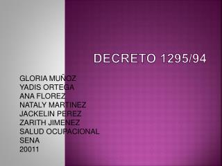 DECRETO 1295/94