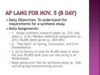 AP Lang for  nov . 5 (B Day)