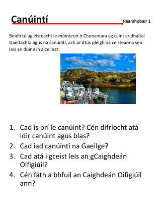 Canúintí                 Réamhobair 1