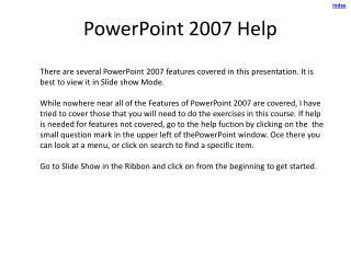 PowerPoint 2007 Help