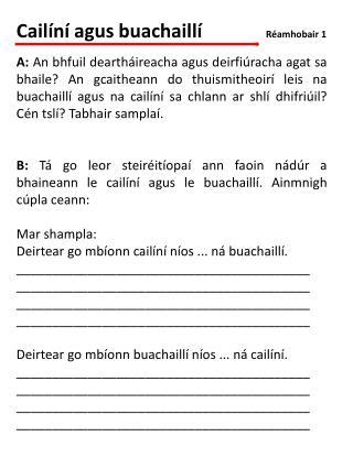 Cailíní agus buachaillí              Réamhobair 1