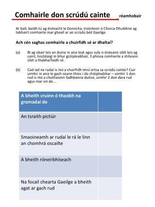 Comhairle don scrúdú cainte      réamhobair