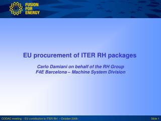 EU procurement of ITER RH packages