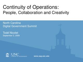 Continuity of Operations: People, Collaboration and Creativity