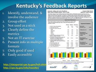 Kentucky's Feedback Reports