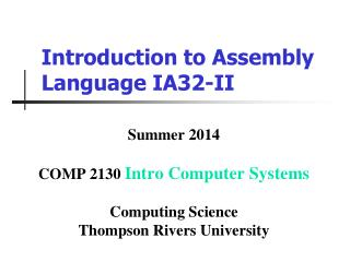 Introduction to Assembly Language IA32-II