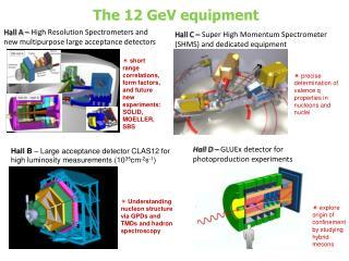 The 12 GeV equipment