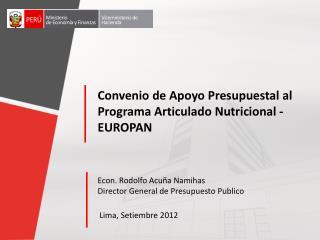 Convenio  de Apoyo Presupuestal  al  Programa Articulado Nutricional - EUROPAN