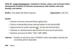 Briefer:   Chris Rader (for Mark Crowson) Organization:   CAC-CAL
