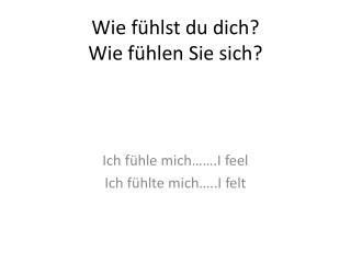 Wie fühlst  du  dich ? Wie fühlen Sie sich ?