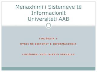Menaxhimi  i  Sistemeve të Informacionit Universiteti  AAB