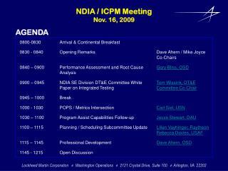NDIA  / ICPM Meeting Nov. 16,  2009
