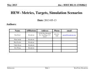 HEW- Metrics, Targets, Simulation Scenarios