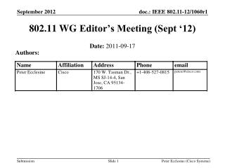 802.11  WG  Editor's Meeting (Sept '12)