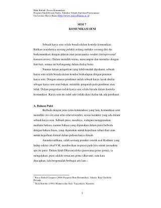 Mata Kuliah: Proses Komunikasi Program Studi Desain Grafis, Fakultas Teknik Sipil dan Perencanaan