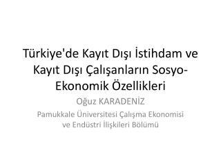 Türkiye'de Kayıt Dışı İstihdam ve Kayıt Dışı Çalışanların  Sosyo -Ekonomik Özellikleri