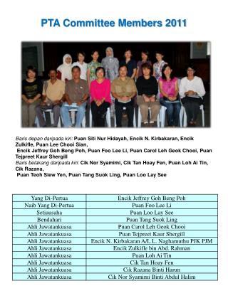 PTA Committee Members 2011