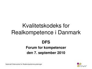 Kvalitetskodeks for Realkompetence i Danmark