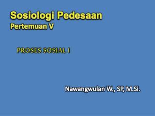 Sosiologi Pedesaan Pertemuan  V