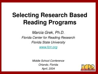 Selecting Research Based Reading Programs