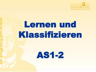 Lernen und Klassifizieren  AS1-2