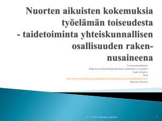 Lisensiaatintutkimus Erikoissosiaalityöntekijän  koulutus, kuntouttava sosiaalityö Lapin yliopisto