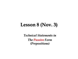 Lesson  8  (Nov. 3)