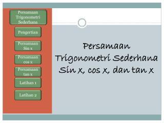 Persamaan Trigonometri Sederhana Sin x, cos x, dan tan x