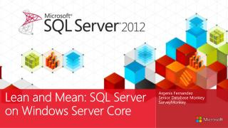 Lean and Mean: SQL Server on Windows Server Core
