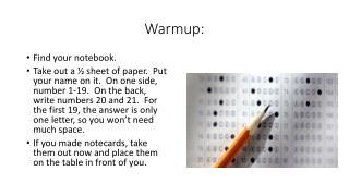 Warmup :