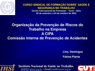 Organiza  o da Preven  o de Riscos do Trabalho na Empresa A CIPA Comiss o Interna de Preven  o de Acidentes         Lino