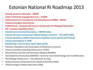 Estonian National RI Roadmap 2013