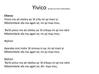 Yivico written by Henry  Maandebo