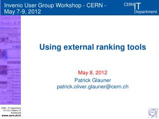 Using external ranking tools