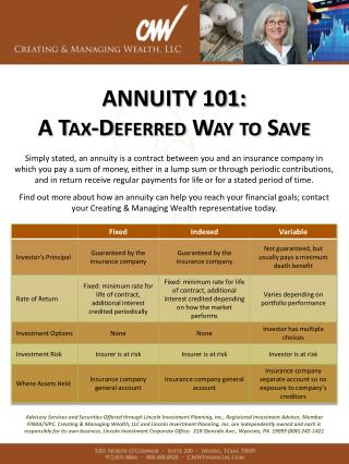 ANNUITY 101:  A Tax-Deferred Way to Save
