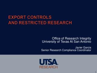 U.S. Regulation of the Export Transaction