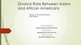 Divorce Rate Between Asians and African Americans