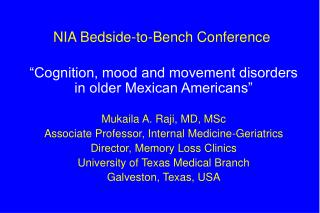 NIA Bedside-to-Bench Conference