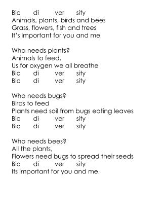 Bio di ver sity Animals, plants, birds and bees Grass, flowers, fish and trees