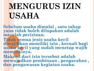MENGURUS IZIN USAHA