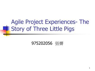 Agile Project Experiences- The Story of Three Little Pigs