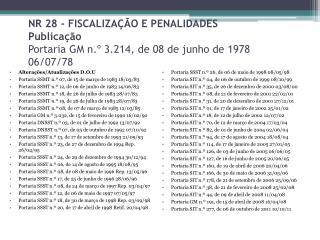 Alterações/Atualizações  D.O. U Portaria SSMT n.º 07, de 15 de março de 1983 18/03/83