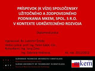 Diplomová práca Vypracoval:  Bc.  Ľubomír  Šmida