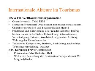 Internationale  Akteure im Tourismus