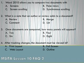 MSITA Lesson 10 FAQ 2