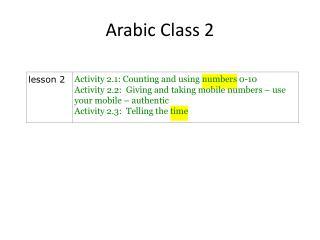 Arabic Class 2